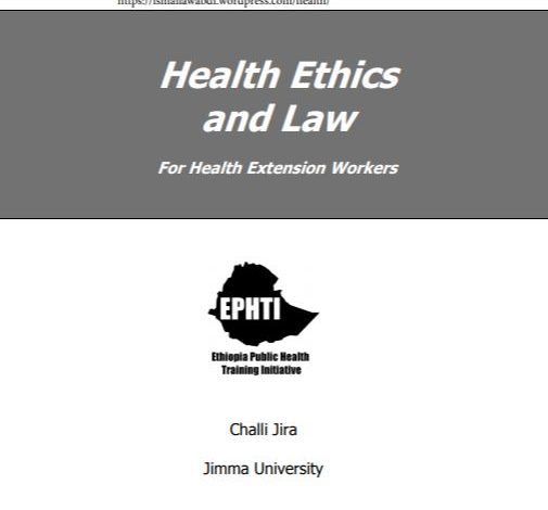 Health Ethics and Law PDF For Health Extension Workers